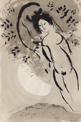 MARC CHAGALL (1887-1985) Nu au croissant de lune Executed circa 1950