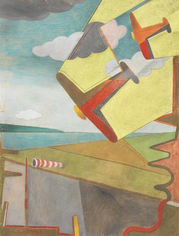 Giulio D'anna (1908-1978) Aerei in picchiata + aeroporto (Executed circa 1931)