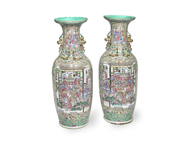 A MONUMENTAL PAIR OF CANTON FAMILLE ROSE VASES 19th century (2)