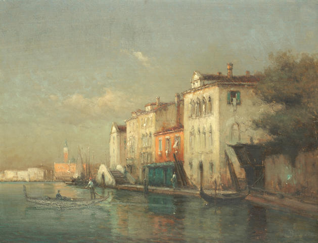 Antoine Bouvard (French, 1870-1956) Gondolier on a Venetian canal with a distant view of the Campanile