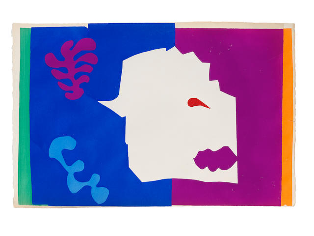 Henri Matisse (French, 1869-1954) Le Loup, from Jazz  Pochoir in colours, 1947, on Arches wove paper, a proof without the central vertical fold, aside from the edition of 100, published by Tériade Éditeur, Paris, the full sheet, deckle edges at left and right, the colours strong and vibrant, generally in good conditionSheet 420 x 655mm. (16 1/2 x 25 5/8in.) unframed