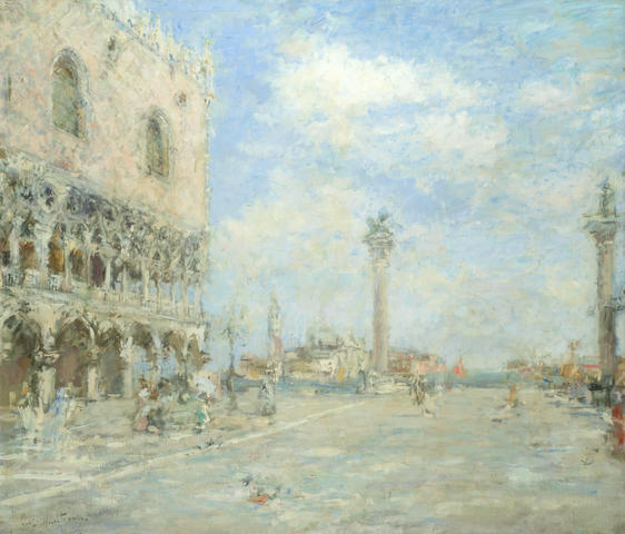 Luigi Mantovani (Italian, 1880-1957) View of the venetian lagoon from the Doge's Palace