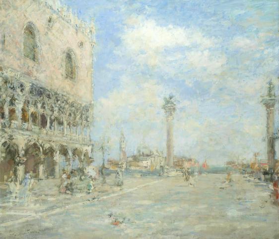 Luigi Mantovani (Italian, 1880-1957) View of the venetian lagoon from the Doge's Palace
