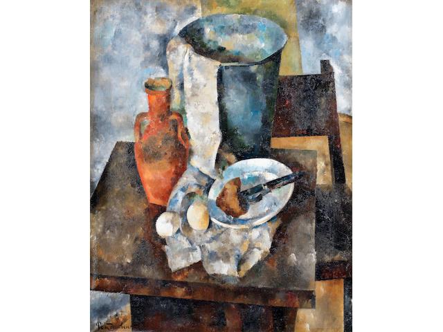 Vasily Rozhdestvensky (1884-1963) Still life with a clay jug