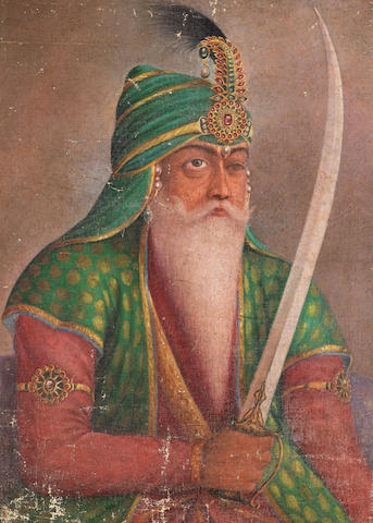 Maharajah Ranjit Singh (reg. 1801-1839), brandishing a sword and wearing a sarpech North India, late 19th/ early 20th Century