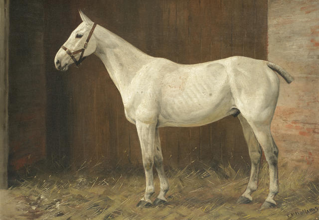 Frances Mabel Hollams (British, 1877-1963) White horse in a stable