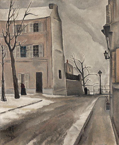 LÉONARD TSUGUHARU FOUJITA (1886-1968) Paysage de Paris, place du Tertre (Painted in Paris in December 1917)