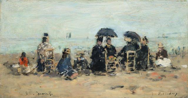 EUGÈNE BOUDIN (1824-1898) Trouville, scène de plage (Painted in Trouville in 1885)