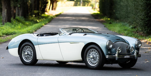 Gold-level certified by the 100M registry,1956 Austin-Healey  100M Factory 'Le Mans' Roadster  Chassis no. BN2-L/230581