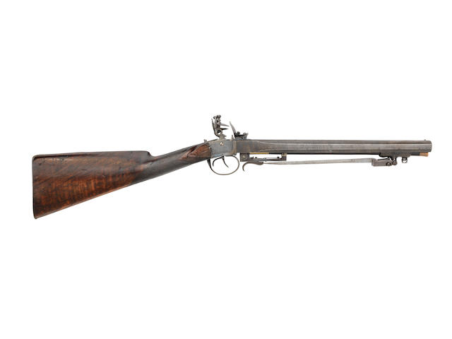 A Highly Unusual Irish 18-Bore Flintlock D.B. Carbine With Spring Bayonet