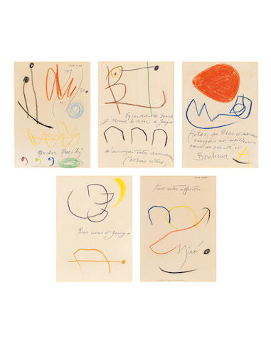 Joan Miró (1893-1983) Cinq compositions