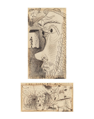 PABLO PICASSO (1881-1973) Têtes de profil (recto); Scène de cirque (verso) (Executed on 1 July 1967)