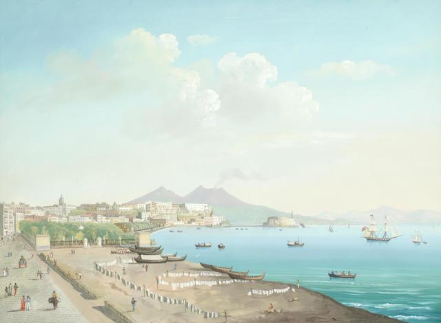 Neapolitan School, 19th Century Veduta di Napoli dalla Riviera di Chiaia (image)