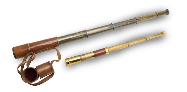 A leather cased four draw brass telescope by Broadhurst Clarkson & Co. (2)