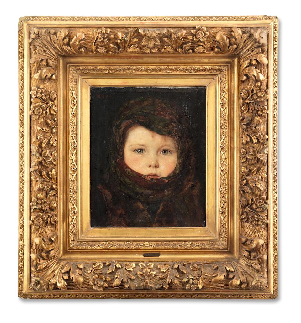 Nikolaos  Gyzis (Greek, 1842-1901) Little girl 29 x 24 cm.