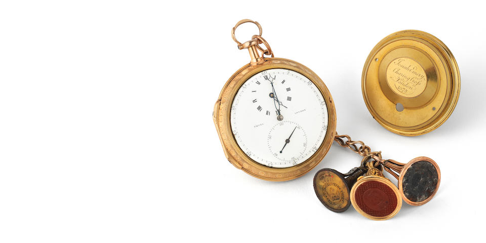 Josiah Emery, Charing Cross, London. A very fine and historically important open face pocket watch with early lever escapement from the Estate of the 3rd Viscount Churchill and numbered 1075 London Hallmark for 1790-91