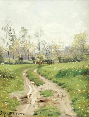 Peder Mørk Mønsted (Danish, 1859-1941) A country lane