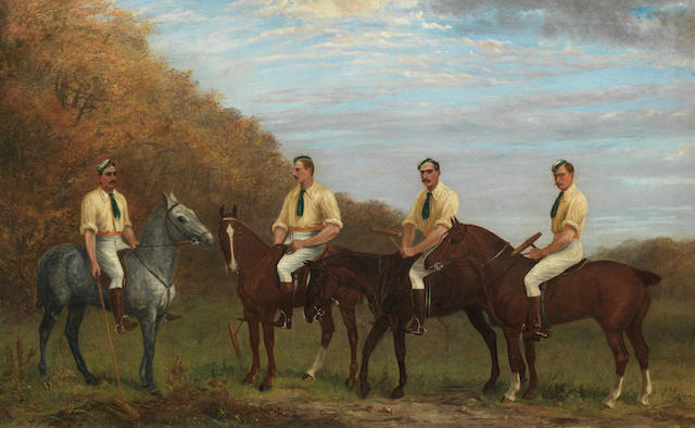 Irish School, 19th century Polo Players (possibly The Irish Lancers in Phoenix Park, Dublin) 75 x 121.5 cm. (29 1/2 x 47 13/16 in.)