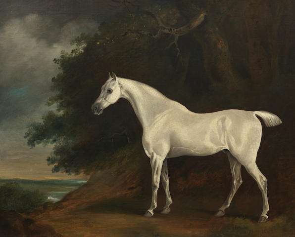Follower of David (of York) Dalby (British, 1794-1836) Landscape with grey horse 62 x 76 cm. (24 7/16 x 29 15/16 in.)