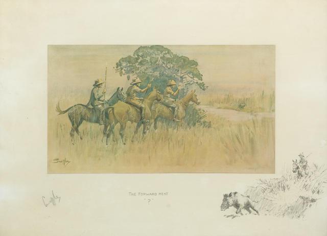 Charlie Johnson Payne, 'Snaffles' (British, 1884-1967) 'The Forward Heat'  47 x 64cm (18 1/2 x 25 3/16in). (Circa 1930)