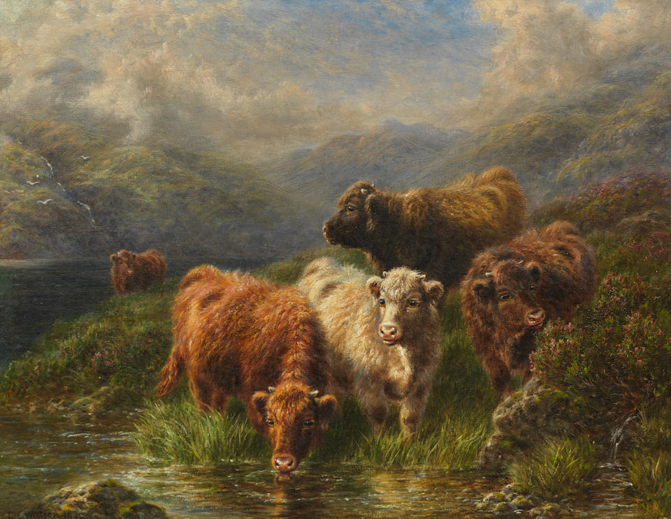 C.E.Watson (British 19th/20th Century) Highland calves - on the banks of Loch Tay 34 x 44.5 cm. (13 3/8 x 17 1/2 in.)  (and another similar (2))