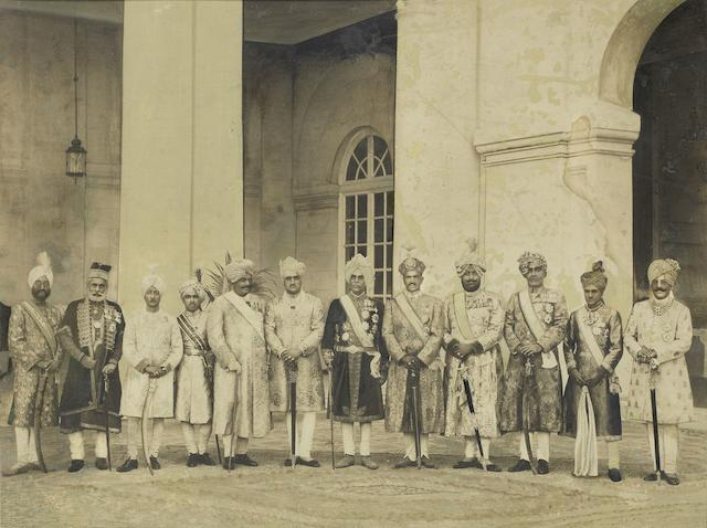 A group photograph of North Indian rulers, taken on the occasion of the Golden Jubilee of HH the Maharajah of Kapurthala, 30th November-4th December 1927 at Kapurthala