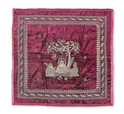 A metal-thread embroidered velvet panel depicting Guru Nanak with Bala and Mardana North India, 19th Century