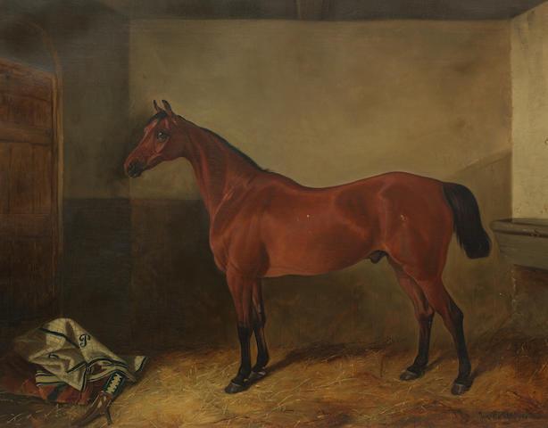 John Arnold Wheeler (British, 1821-1903) Chestnut Horse in Stable