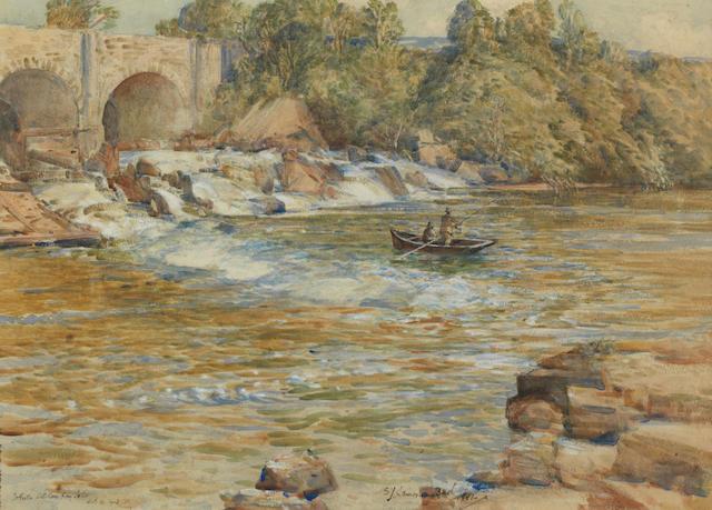 Samuel John Lamorna Birch, RA, RWS, RWA (British, 1869-1955) Fishing Below Muccombes Falls