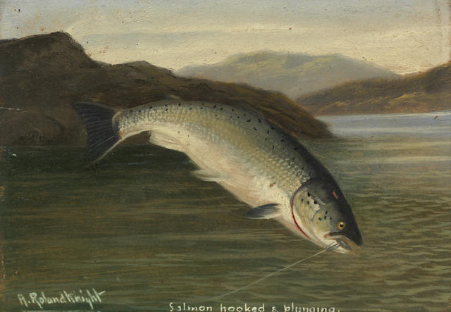 A. Roland Knight (British, active 1879-1921) A run of 5 oils of fishing subjects, to include salmon, pike and trout 12.5 x 18 cm (4 15/16 x 7 1/16 in.