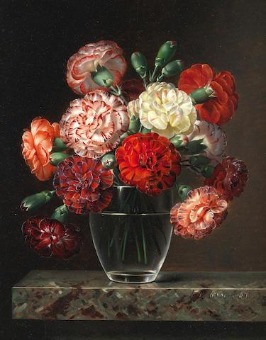 Johan Laurentz Jensen (Danish, 1800-1856) Carnations in a glass vase on marble ledge