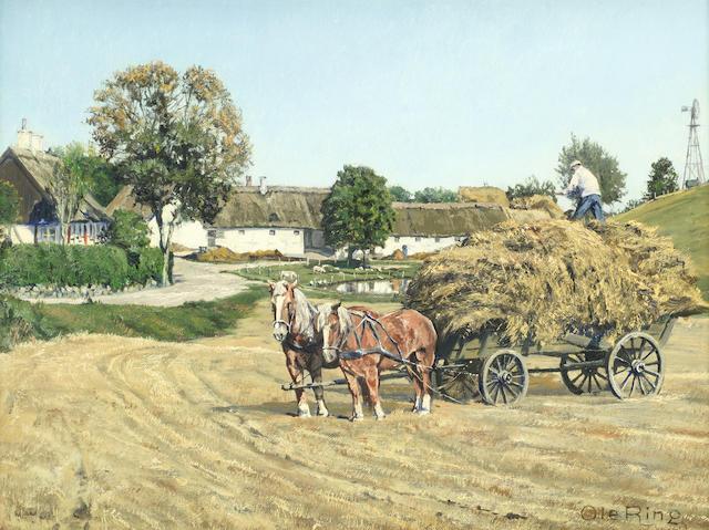 Ole Ring (Danish, 1902-1972) The haycart