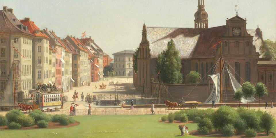 Constantin (Carl Christian Constantin) Hansen (Danish, 1804-1880) View of Holmes Kirke across Slotsplads from Christiansborg