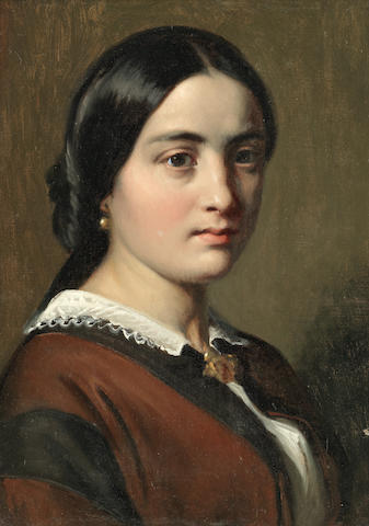 Wilhelm Nicolai Marstrand (Danish, 1810-1873) Portrait of a lady thought to be the artist's wife, Margrethe Marstrand