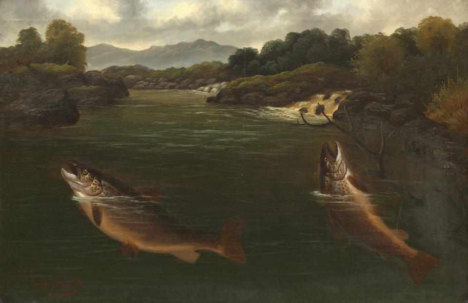A. Roland Knight (British, active 1879-1921) Salmon Taking a Fly (Together with another Brace of Sea Trout (2) )