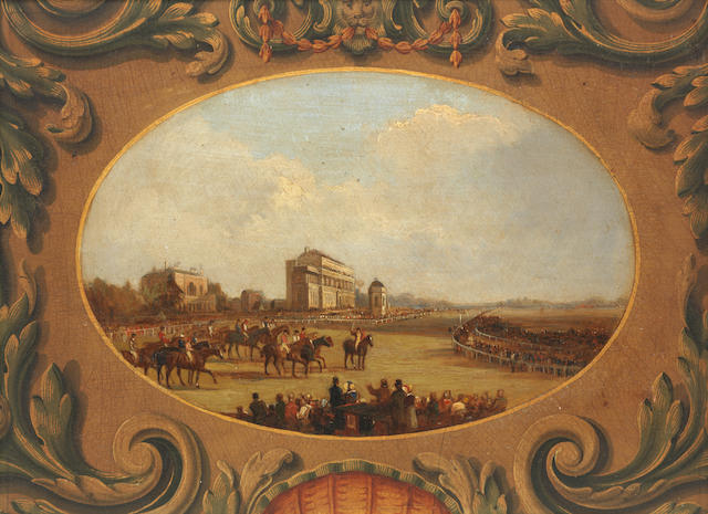 After James Pollard, 19th Century Doncaster Races - Horses Starting for the Great St. Leger Stakes oval vignette within a decorative cartouche 23.5 x 31.5 cm. (9 1/4 x 12 3/8 in.)