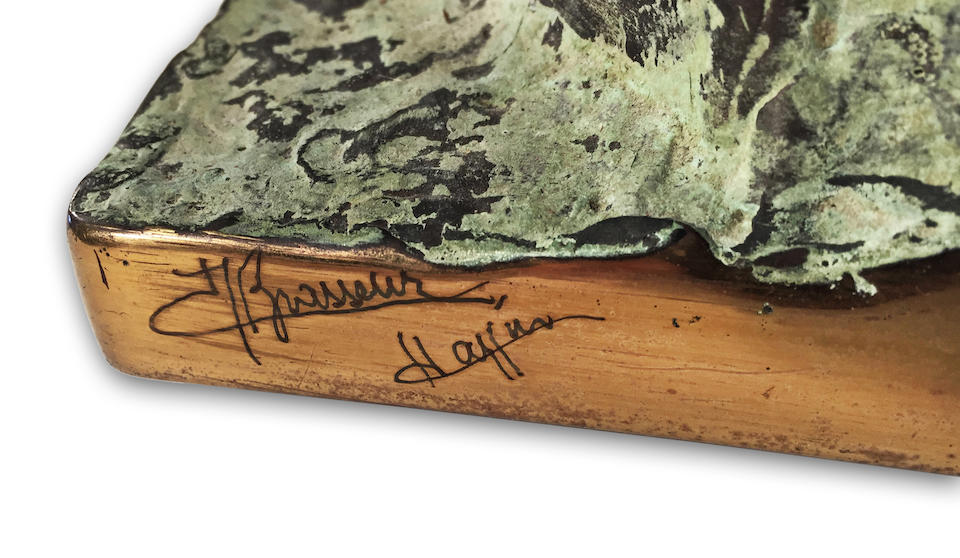 A Unique Console Table by Jacques Duval Brasseur designed and executed 1970's Marble, green patinated bronze, right-hand edge signed by the artist and also inscribed Hoffman150cm x 35cm x 85cm signed by the artist and also inscribed Hoffman, Designed and executed 1970s