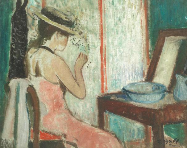 François Gall (French, 1912-1987) 'Eugénie au chapeau de paille à la voilette devant le miroir'