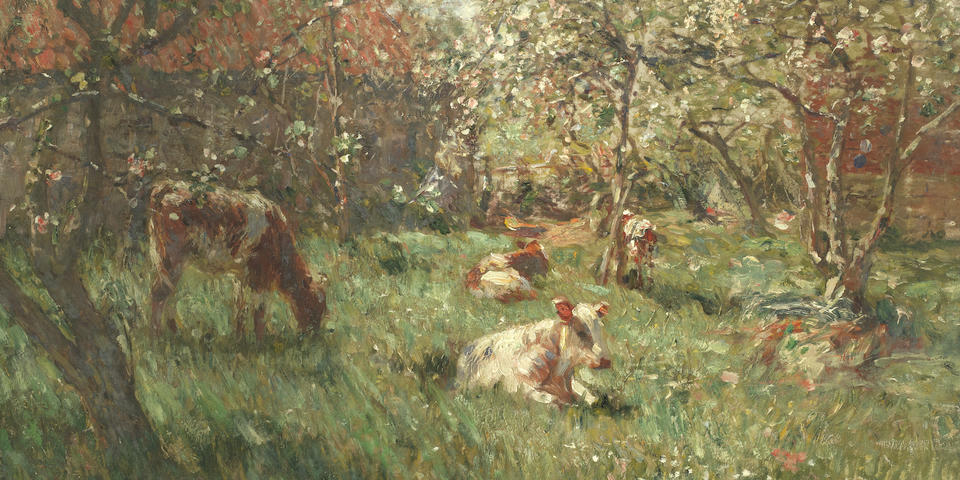 Frederick William Jackson (British, 1859-1918) Cows grazing among the trees