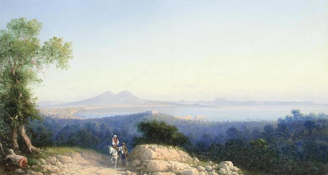 Girolamo Gianni (Italian, 1837-1895) View of the bay of Naples, Vesuvius smoking in the distance