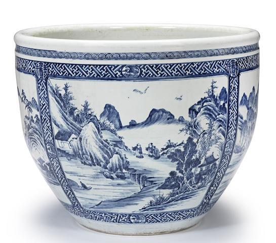 A rare massive blue and white fish bowl Late Kangxi/Yongzheng