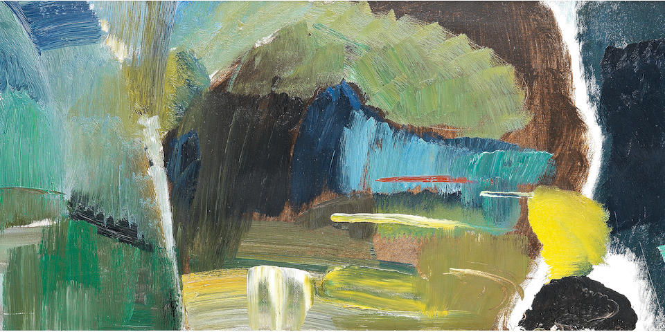Ivon Hitchens (British, 1893-1979) Caves of Green No.3 44 x 145.5 cm. (17 1/4 x 57 1/4 in.)