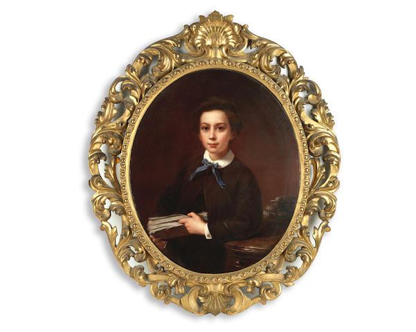 Bernardo Amiconi (Italian, 1825-1879) Portrait of a boy reading, possibly Alexander Pandia Ralli