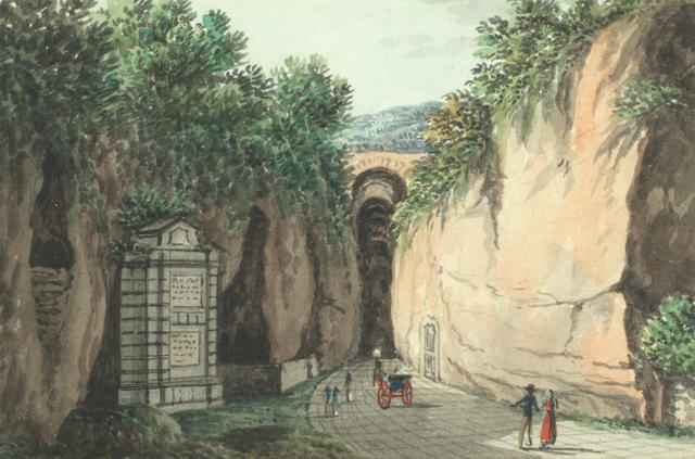 Neapolitan School, 19th Century La Grotta di Posillipo, Ponte di Caligola a Pozzuoli, Veduta di Sorrento, Il Porto di Napoli, La Tomba di Virgilio and a view of ruins, a set of six each 6.5 x 9.5cm (2 9/16 x 3 3/4in).(6)