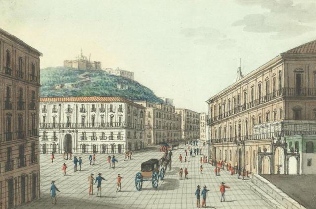 Neapolitan School, 19th Century Palazzo Reale di Napoli and Prospetto del Teatro di S.Carlo, a pair each 6 x 9.5cm (2 3/8 x 3 3/4in).(2)