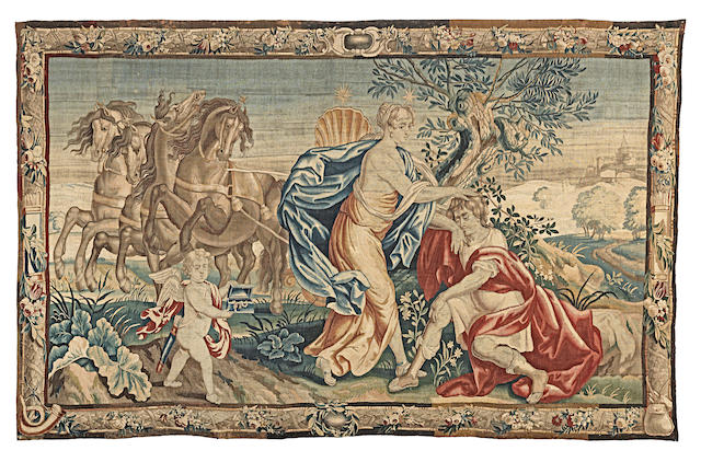 A large Flemish tapestry, depicting Selene, Cupid and Endymion 381cm x 239cm