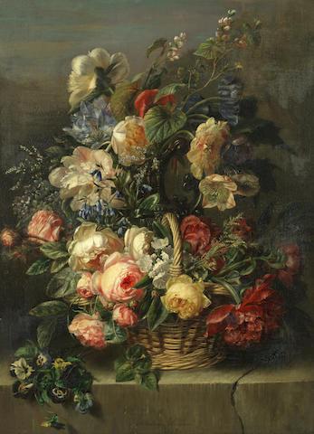 Adriana Johanna Haanen (Dutch, 1814-1895) An abundant still life of flowers
