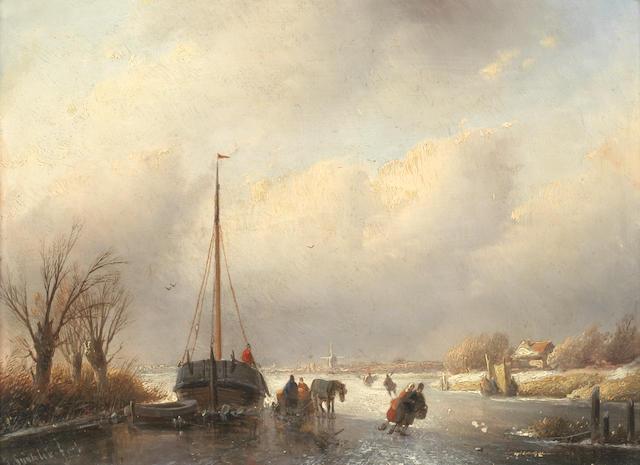 Jan Jacob Spohler (Dutch, 1811-1866) A frozen river scene
