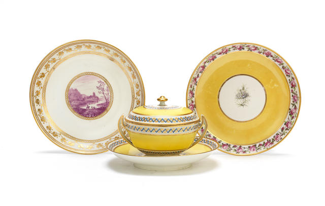 Three Derby dishes, a Derby ecuelle, cover and stand and a cabaret milk jug Circa 1785-90