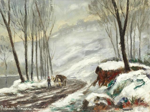 Paul Émile Pissarro (French, 1884-1972) 'Route par temps de neige, Clécy Calvados' (Painted circa 1960)